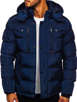 Granatowa pikowana kurtka męska zimowa Denley 1182