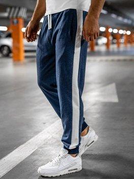 Granatowe dresowe spodnie męskie Denley N1213