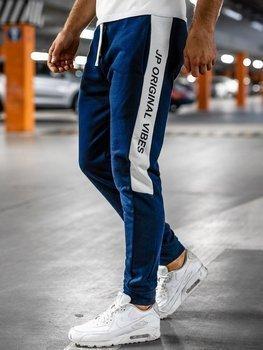 Granatowe dresowe spodnie męskie Denley N1216