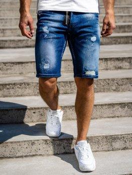 Granatowe jeansowe krótkie spodenki męskie Denley R3008