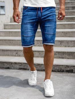 Granatowe krótkie spodenki jeansowe męskie Denley HY655