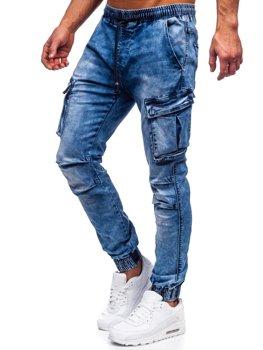 Granatowe spodnie jeansowe joggery bojówki męskie Denley TF050