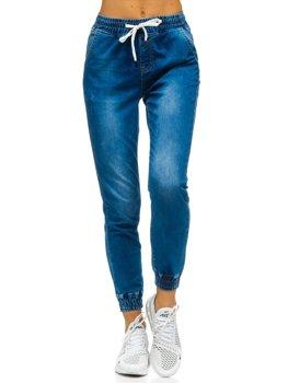 Granatowe spodnie jeansowe joggery damskie Denley SJ105