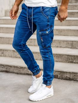 Granatowe spodnie jeansowe joggery męskie Denley KA736-2