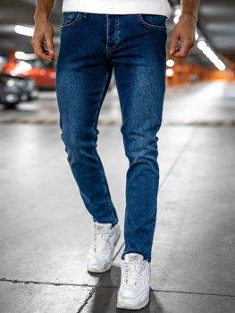 Granatowe spodnie jeansowe męskie regular fit Denley R901