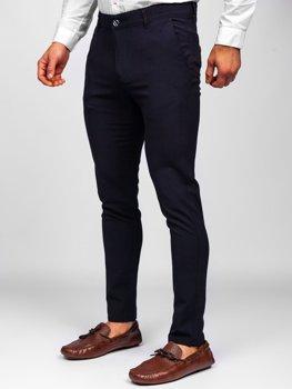 Granatowe spodnie materiałowe chinosy męskie Denley 0015