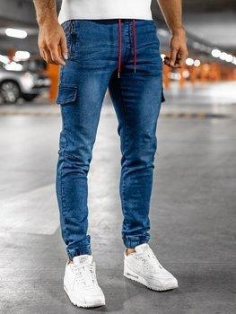 Granatowo-czerwone spodnie jeansowe joggery męskie Denley HY272