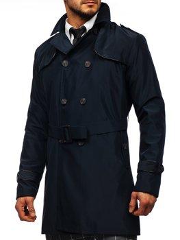 Granatowy dwurzędowy płaszcz męski prochowiec z wysokim kołnierzem i paskiem Denley 0001