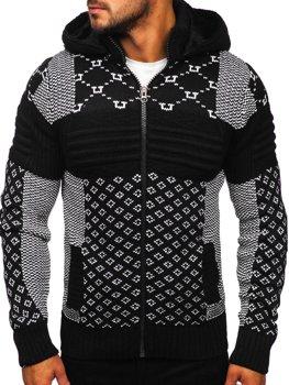 Gruby czarny rozpinany sweter męski z kapturem kurtka Denley 2060