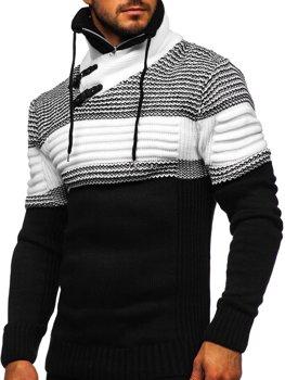 Gruby czarny sweter męski ze stójką Denley 2002