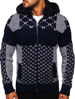 Gruby granatowy rozpinany sweter męski z kapturem kurtka Denley 2060