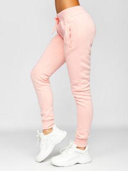 Jasnoróżowe spodnie dresowe damskie Denley CK-01-56
