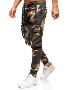 Khaki spodnie joggery bojówki męskie Denley 11105