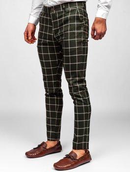 Khaki spodnie materiałowe chinosy w kratę męskie Denley 0002