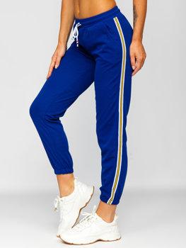 Kobaltowe spodnie dresowe damskie Denley YW01020B