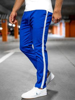 Kobaltowe spodnie materiałowe joggery męskie Denley 0013