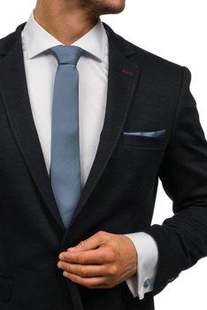 Komplet męski krawat, spinki, poszetka ciemnoszary Denley KSP01