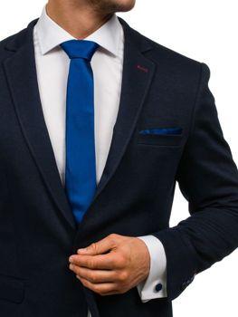 Komplet męski krawat, spinki, poszetka granatowy Denley KSP01