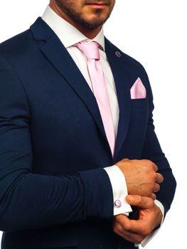 Komplet męski krawat, spinki, poszetka różowy Denley KSP01