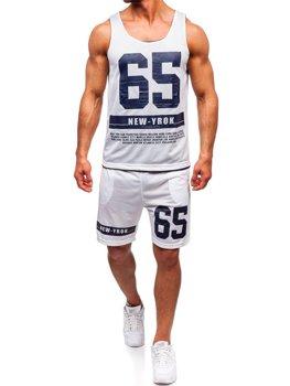 Komplet męski t-shirt + spodenki Denley biały 100777