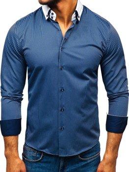 Koszula męska elegancka w paski z długim rękawem granatowa Bolf 0909-A
