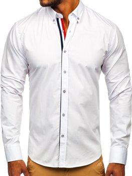 Koszula męska elegancka z długim rękawem biała Bolf 3713