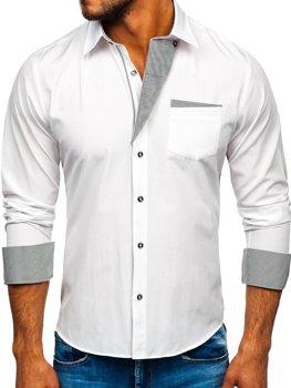 Koszula męska elegancka z długim rękawem biała Bolf 6946  nfc3W