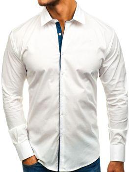 Koszula męska elegancka z długim rękawem biała GM10