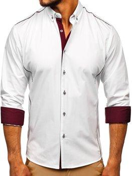 Koszula męska elegancka z długim rękawem biało-bordowa Bolf 5722-1