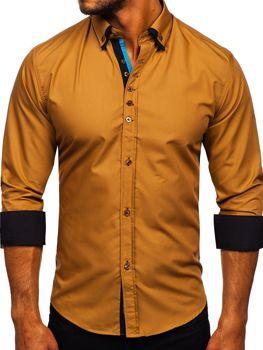 Koszula męska elegancka z długim rękawem camelowa Bolf 3708