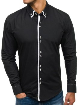 Koszula męska elegancka  z długim rękawem czarna Bolf 1721-A