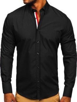 Koszula męska elegancka z długim rękawem czarna Bolf 3713