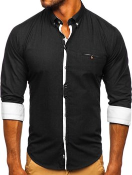 Koszula męska elegancka z długim rękawem czarna Bolf 7720