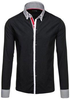 Koszula męska elegancka z długim rękawem czarna Denley 5727
