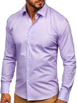Koszula męska elegancka z długim rękawem fioletowa Denley TS50