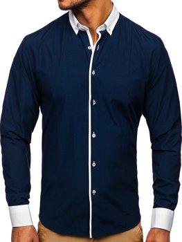 Koszula męska elegancka z długim rękawem granatowa Bolf 2782