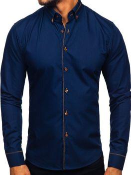 Koszula męska elegancka z długim rękawem granatowa Bolf 6964