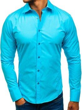 Koszula męska elegancka z długim rękawem jasnoniebieska Bolf 1703