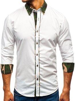 Koszula męska elegancka z długim rękawem moro-biała Bolf 6876