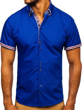 4a46b9c7903928 Koszula męska elegancka z krótkim rękawem chabrowa Bolf 3507