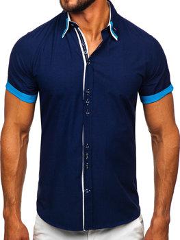 Koszula męska elegancka z krótkim rękawem granatowa Bolf 2926