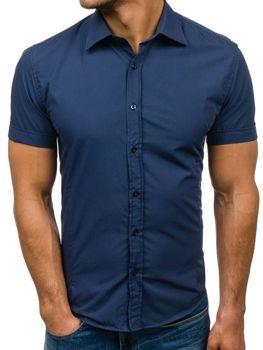 Koszula męska elegancka z krótkim rękawem jasno granatowa Bolf 7501