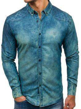 Koszula męska jeansowa z długim rękawem granatowo-szara Denley 0540-1
