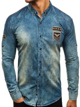 1821b3a12b95 Koszula męska jeansowa z długim rękawem granatowo-szara Denley 0992
