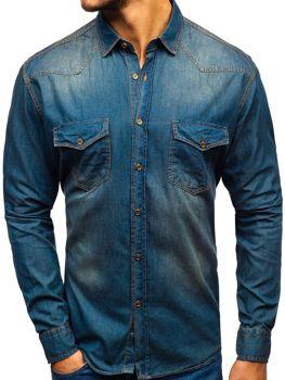 Koszula męska jeansowa z długim rękawem granatowo-szara Denley 1331