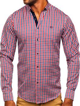 Koszula męska w kratę vichy z długim rękawem czerwona Bolf 4712