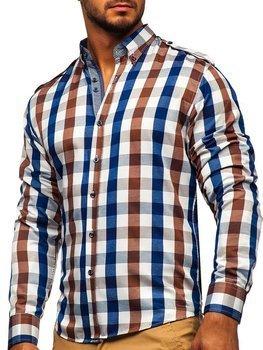 Koszula męska w kratę z długim rękawem brązowa Bolf 2779