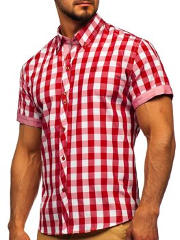 Koszula męska w kratę z krótkim rękawem czerwona Bolf 6522