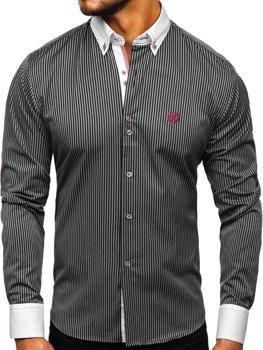 Koszula męska w paski z długim rękawem czarna Bolf 9717
