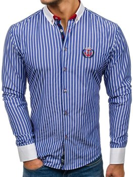 Koszula męska w paski z długim rękawem niebieska Bolf 1771